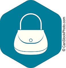 Woman bag icon, simple style