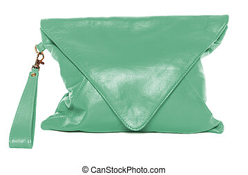 Woman bag isolated on white background sea green color