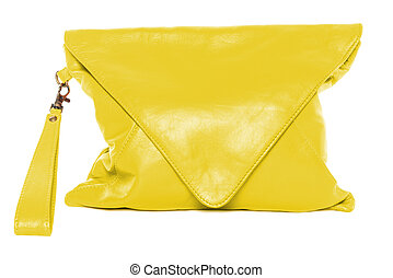 Woman bag isolated on white background yellow color