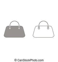 Woman bag it is black icon .