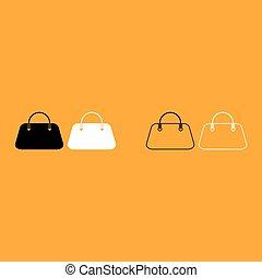 Woman bag it is white icon .
