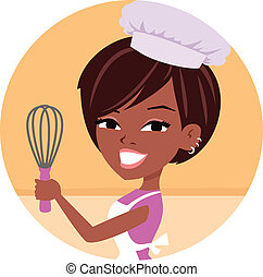 Young woman wearing chef hat and apron holding a kitchen utensil - a wire whisk used to mix cake batters. The image features neutral shades, and the woman has dark skin.