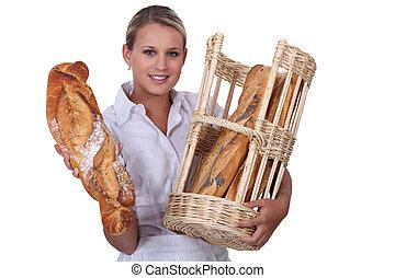 Woman baker self-employed on white background