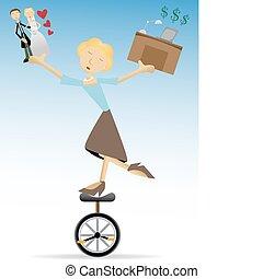 Woman balancing family and work, lo
