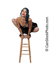 Woman Balancing on a Stool