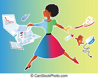 Woman balancing work and family - Cute woman making a leap...