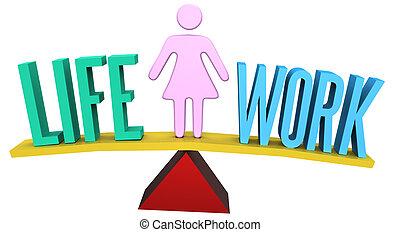 Woman balancing work or life choice
