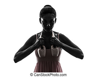 woman ballerina ballet dancer holding shoes silhouette