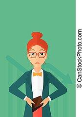 woman., bancrupt, affari