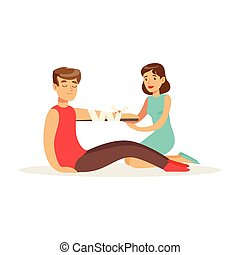 Woman bandaging the hand of the injured man, first aid vector Illustration