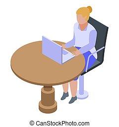 Woman bank teller icon, isometric style