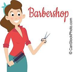 Woman barber with scissors, shear, beautiful worker people portrait.