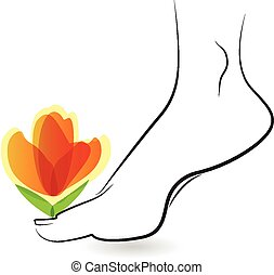 Woman barefoot with flowers icon vector card design logo