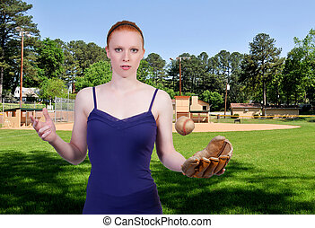 Woman Baseball Player