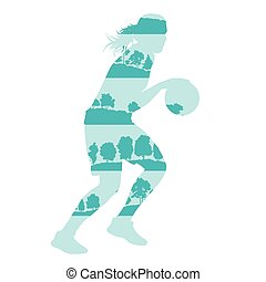 Woman basketball vector background concept made of forest...