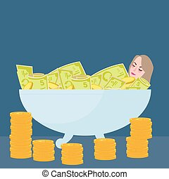 woman bathing in money filthy rich wealth success fortune...