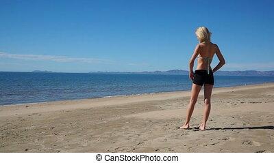 Woman Beach Shorts Full Back