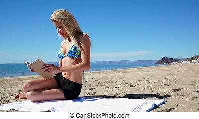 Woman Beach Shorts Sit Book
