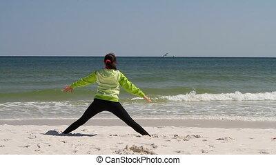 Woman Beach Stretching