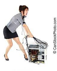 woman beating computer
