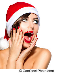 woman., beauté, noël, santa, modèle, chapeau, girl