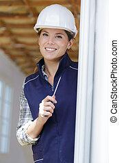 woman beautiful builder