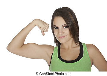 Woman - Beautiful Caucasian woman flexing her muscles on a ...