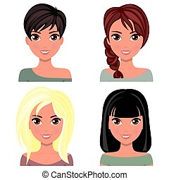 Woman beautiful face with different hairstyles
