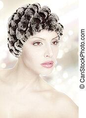 woman beautiful fur