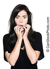 studio shot portrait on isolated white background of a Beautiful Woman fear afraid anxiou