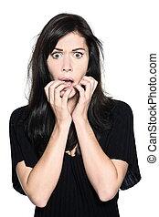 woman beautiful portrait fear afraid anxious - studio shot...
