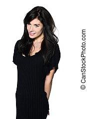 woman beautiful portrait studio smiling shy seductress - ...