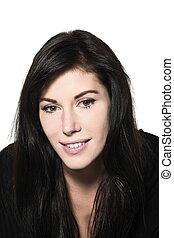 woman beautiful portrait studio smiling