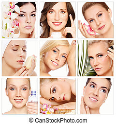 Collage with nine beautiful healthy happy women of different age having beauty treatment. Beauty, health, skincare.