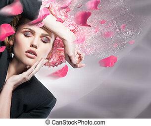 Woman beauty face fashion portrait in suit flowers on head...