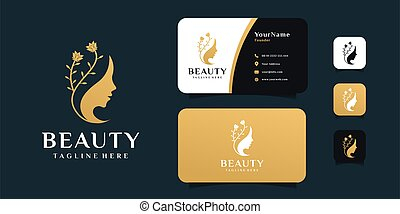 Woman beauty face flower logo design with business card template