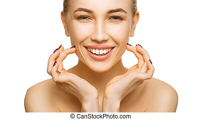 Woman beauty face portrait isolated on white background with healthy skin and white teeth smile