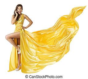Woman Beauty Fashion Dress, Beautiful Girl In Flying Yellow...