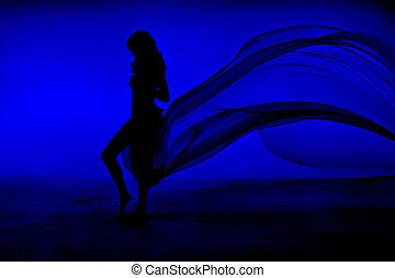 Woman Beauty, Girl Silhouette with Blue Fluttering Dress...