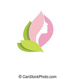 Woman beauty in blossom - Vector beauty logo