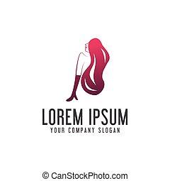 woman beauty logo design concept template