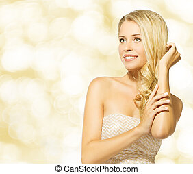 woman beauty portrait, beautiful blonde girl happy smiling over yellow background