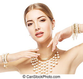 Woman Beauty Portrait, Fashion Model Jewelry necklace bracelet, Elegant Lady Makeup over White Backgroundv