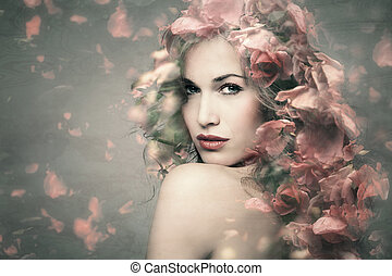 beauty - woman beauty portrait with flowers  composite photo