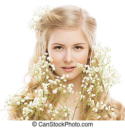 Woman Beauty Portrait, Young Girl with Flower and Blond Hair