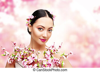 Woman Beauty with Pink Flowers, Asian Fashion Model Girl