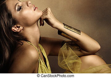 woman beauty - young beautiful woman portrait in golden ...