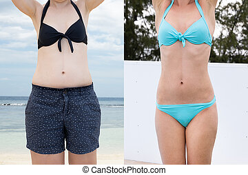 Woman Before And After From Fat To Slim Concept