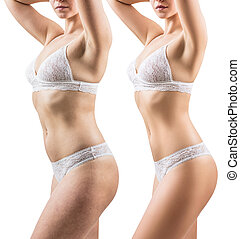 Woman before and after weight loss. Body slimming concept.