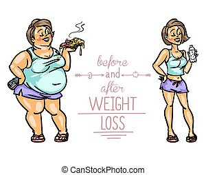 Woman before and after weight loss. Cartoon funny characters